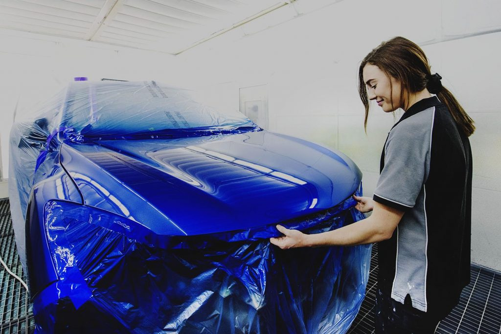 dakota endacott leven smash repairs staff in spray booth