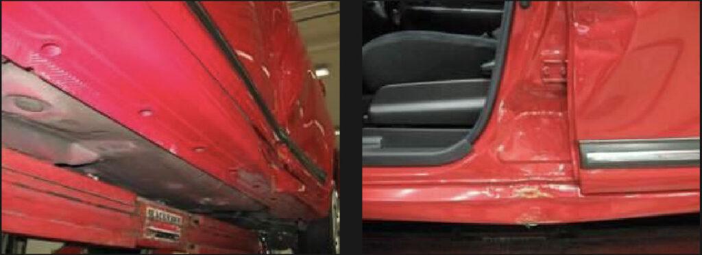photo of detail car damage claim insurance